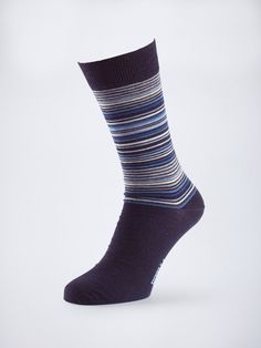 Fine multi-stripe socks by Viyella in one size and a choice of Mulberry or Navy colours.