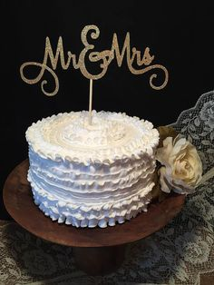 Mr and Mrs Birch Wood Wedding Cake Topper