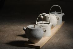 Teapots Green, Unfired teapots .by Philip Finder for Krueger Pottery