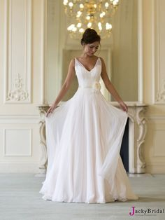 2015 Wedding Dresses A Line V-Neck Sashes Flower Chiffon Bridal Gowns AWD62021