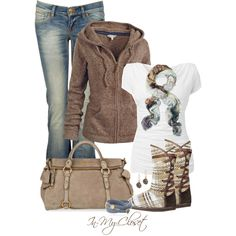 Fall / Winter outfit.  Brown Hoodie. White Top.  Jeans.  Tan Purse.  Brown & Tan Knit Boots.