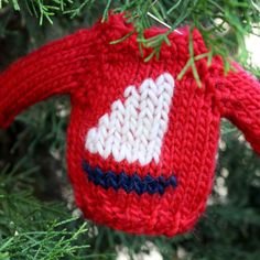 Knitting pattern for mini sweater Christmas ornament Sailboat - red, white & blue