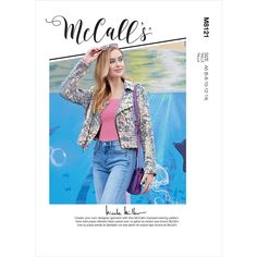 Misses Jacket McCalls Sewing Pattern 8121. Mccalls Sewing Patterns, Vogue Patterns, Simplicity Sewing Patterns, Dressmaking Fabric, Novelty Fabric, Biker Style, Jacket Pattern, Cool Fabric, Lining Fabric