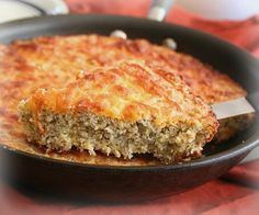 YUM-MIE! THIS IS A GREAT RECIPE!!!! Cheesy Skillet Bread – Low Carb and Gluten-Free~It baked up beautifully, and pouring the batter into a hot buttered skillet meant that it had a crispy browned crust.  It was a perfect accompaniment to soup for dinner
