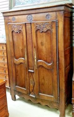 Louis XVI Style Carved Walnut Double Door Armoire, 1900 Century! This  Lovely Armoire Has The Stepped Arched Canted Corner Crown Over Double Wide  | Pinterest ...