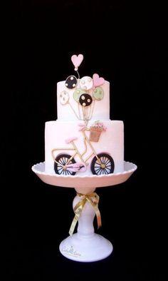 bicycle cake ♫ I want to ride my bicycle. Bicycle Cake, Bike Cakes, Pretty Cakes, Beautiful Cakes, Fondant Cakes, Cupcake Cakes, Bolo Tumblr, Bolo Paris, Bolo Cake