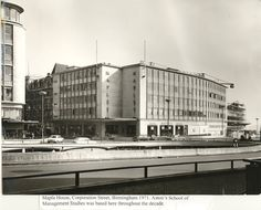 Maples House, Corporation Street, #1971. Aston University's School of Management Studies was based here throughout the decade. Aston University, Birmingham, Management, History, Street, School, Building, House, Historia