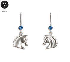 VŠECHNY ŠPERKY   Náušnice koně Vivian a přírodní kámen spinel - tmavě modré   MILADY šperky, jezdecké a koně
