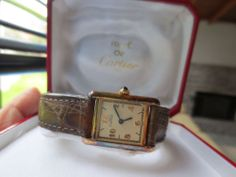 MUST DE CARTIER TANK GOLD PLATED SILVER QUARTZ LADIES WATCH WITH PAPERS   eBay