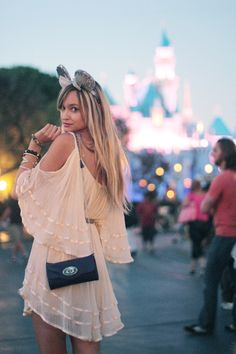 Wear glitter Minnie ears at Disney World while, hopefully, looking this cute!