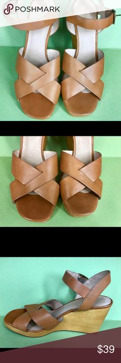 "Madewell women's brown wedge sandals Size 9 Madewell women's wedge sandals leather upper and lining, synthetic outside   size 9 (9.25 inches from heel to toe)  overall good condition, minor wear (scratches) on the leather, insole, and wood (shown in photos)  3.5"" wedge .5"" platform Madewell Shoes Wedges"