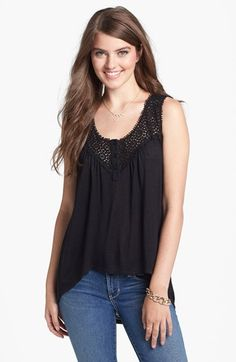Painted Threads Crochet Yoke Racerback Tank (Juniors) available at #Nordstrom
