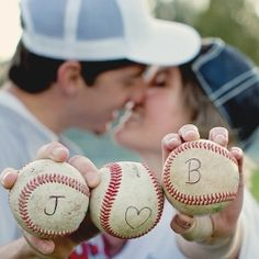 One of the ideas for our engagement pictures (because we met playing softball one weekend) @ Melissa Caputo