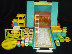 Vintage Fisher Price Little People A Frame House + Accessories Furniture Car+!! I still have this and everything that goes with it.