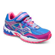 Saucony Excursion AC Velcro in Blue/Pink/Purple. #girlsrunningshoes #girlshoes #girlssneakers #sauconyexcursion