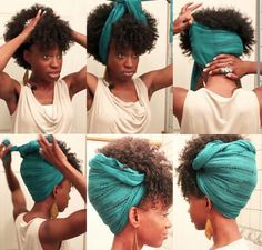 Natural scarf updo