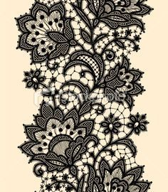 black lace tattoo with flowers - Google Search