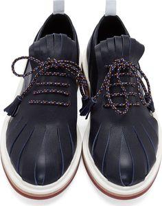 Krisvanassche Navy Pebbled Leather Fringed Derbys