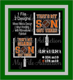 That's My Son and Grandson Out There Football Instant Download SVG EPS Vinyl and Rhinestone by MyFileAddiction