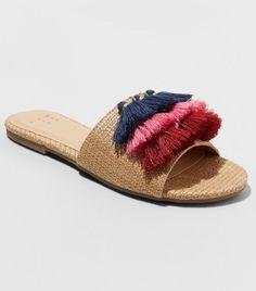 198d73879670 A New Day Ayana Raffia Tassle Slide Sandals Cute Sandals
