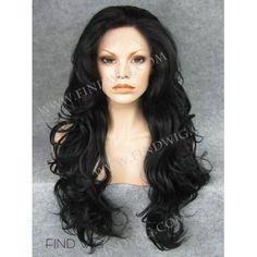 Wavy Black Long Wig. Kanekalon Wig. Buy Wigs Online