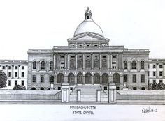 Massachusetts State House, drawing by Frederic Kohli