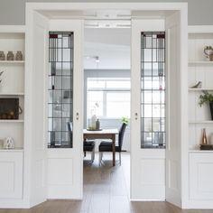 Amsterdam Living, Living Room Sliding Doors, Flat House Design, Queenslander House, Walk In Closet Design, Room Door Design, Home Staging, Home Living Room, Home Interior Design