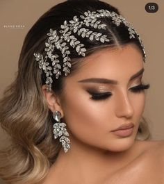 Beautiful Bridal Hair Accessories And How To Style Them - The Glossychic Bridal Makeup Looks, Bridal Hair And Makeup, Bride Makeup, Wedding Hair And Makeup, Hair Makeup, Wedding Hairstyles With Crown, Bride Hairstyles, Down Hairstyles, Updo Hairstyle
