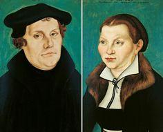 Lucas Cranach d. Ä.: Bildnis Martin Luther und Bildnis Katharina von Bora, 1529, Museen Böttcherstraße, Ludwig Roselius Museum, Bremen