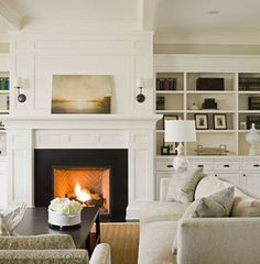 built-ins, fireplace millwork, sconces. Show Robert for our built ins. Fireplace Trim, Fireplace Built Ins, Fireplace Design, Simple Fireplace, White Fireplace, Herringbone Fireplace, Fireplace Bookcase, White Mantle, Fireplace Wall