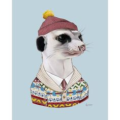 The Cozy Meerkat's story: Although he was born in the desert, this meerkat just never felt comfortable in a tank top. He moved to the mountains when he was a teenager and adores the snowy, cozy lifest