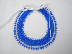 Cute blue-white vintage style seed beaded handmade statement