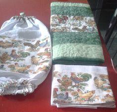 Kit cozinha  4 jogos americanos tamanho 35x45 em patchwork em tecido 100% algodão;  1 puxa saco;  1 pano de prato