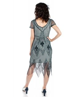 This Flapper Style Fringe Party Dress in Blue Grey recaptures the glamour of 1920's fashion. The classic scalloped sleeves and soft V-neck preserve the vintage look, while highlighting the modern fit. Gold Sequins, Vintage Looks, Blue Grey, Flapper Style Dresses, Party Dress, Vintage Fashion, Glamour, Preserve, Soft Fabrics