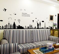 Cheap wall sticker, Buy Quality decoration murale directly from China wall sticker living room Suppliers: Fashion Eiffel Tower Sydney Greek city Building set DIY Wall Stickers Living Room Background Decor Mural Decal Wallpaper City Wall Stickers, Removable Wall Stickers, Grand Tour, Large Wall Decals, Living Room Background, Landscape Walls, City Landscape, Art Wall Kids, Wall Art