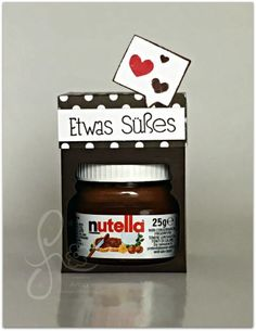 Mini Nutella sweet packed with Stampin & # s; Valentines Day Gifts For Him, Valentine Box, Cupcakes, Exploding Boxes, Treat Holder, Baby Shower, Stamping Up, Mini, Diy And Crafts