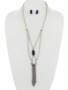 Arabella Ave by Tina  http://www.arabellaave.com/?a_aid=TinaGowans  MARQUISE CUT STONE RHINESTONE CHAIN FRINGE NECKLACE AND EARRING SET $17.95 24 INCHES LONG MARQUISE CUT STONE  RHINESTONE CHAIN  FRINGE LAYERED METAL SPIKE  CHEVRON ETCHED  CRESCENT LINK CHAIN  POST PIN  7 INCH DROP  NICKEL AND LEAD COMPLIANT