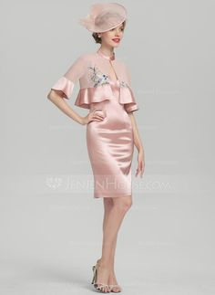 [£ Sheath/Column V-neck Knee-Length Charmeuse Mother of the Bride Dress - JJ's House Pink Outfits, Elegant Dresses, Mother Of The Bride, Peplum Dress, Two Piece Skirt Set, Beautiful Women, V Neck, Bridal, My Style