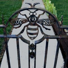 how gorgeous would this be on a Beekeeper's Cottage gate? Beekeeping For Beginners, Raising Bees, Backyard Beekeeping, Wrought Iron Gates, Bee Theme, Save The Bees, Gate Design, Bees Knees, Garden Gates