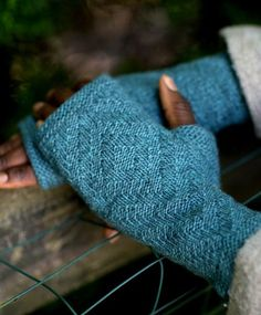 Free Knitting Pattern for Rowell Mitts - Fingerless mitts with a diamond textured pattern on top and practical rib on the palm. Designed by megi burcl for Brown Sheep Company. Sport weight yarn