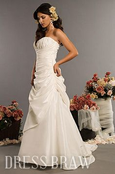 Chic Strapless A-Line Ruched Court Wedding Dresses WG243
