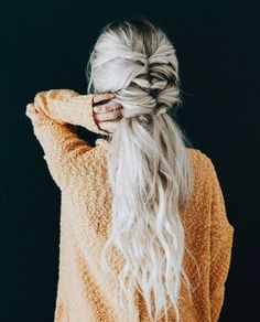 french braid + waves | half up half down hairstyle