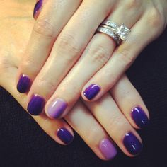 Happy holiday mani! Shellac Grape Gum with a Lilac Longing feature nail :)