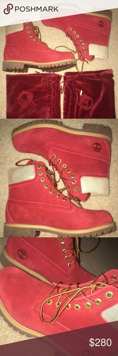 """TIMBERLAND LIMITED EDITION NICE 6"""" RED BOOTS SZ 7 TIMBERLAND LIMITED EDITION NAUGHTY OR NICE 6"""" PREMIUM BOOTS SIZE 7 RED BOOTS. The """"NICE"""" edition. Size 7.  NEVER WORN! NEW WITHOUT BOX  Comes with dust bag for each shoe and with the extra shoestring for each shoe! Timberland Shoes Boots"""