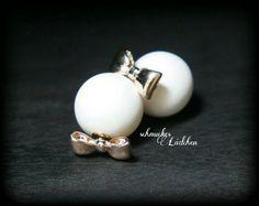 Doppel-Perlen Ohrstecker mit goldener von byschmuckesLaedchen