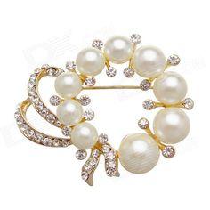 EQute XPEW16C3 Elegant Imitation Pearl & White Rhinestones Inlaid Brooch - White
