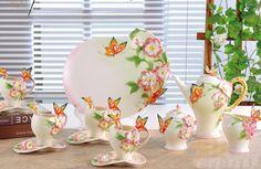 16PCS Porcelain Pink Azalea Butterfly Coffee Set Platter Pot Cup Creamer Sugar #Doesnotapply
