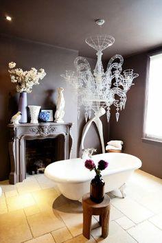 Bathroom Fireplace Ideas 49 1 Kindesign - Home Decor Design Bathroom Inspiration, Interior Inspiration, Design Inspiration, Design Ideas, Design Blogs, Design Art, Dream Bathrooms, Beautiful Bathrooms, Master Bathrooms