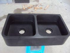 Dubbele spoelbak voor Keuken 89,5/50/18cm zwart graniet gezoet
