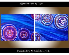 """""""Current"""" by QiQiGallery 40""""x16"""" Original Painting, $165.00"""